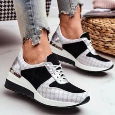 Femmes PU Autres Chaussures plates Haut haut bout rond Tennis avec Dentelle chaussures