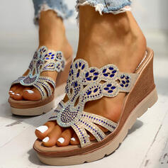 Women's PU Wedge Heel Sandals Wedges Peep Toe Slippers With Rhinestone shoes