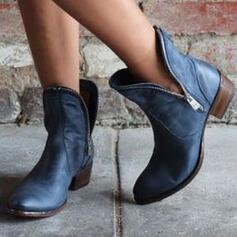 Femmes PU Talon bottier Bout fermé Bottes Bottines Bottes d'hiver avec Zip Couleur unie chaussures