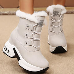 Women's Suede PU Flat Heel Platform Boots With Lace-up Faux-Fur shoes