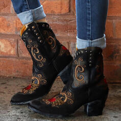 Women's PU Chunky Heel Riding Boots Pointed Toe With Rivet shoes