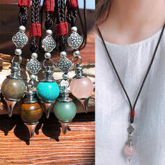 Boho Pretty Alloy Turquoise Braided Rope Necklaces