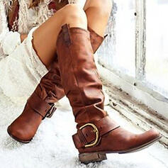 Women's PU Chunky Heel Boots Mid-Calf Boots With Buckle Solid Color shoes