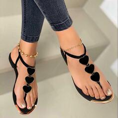 Femmes PU Talon plat Sandales Tongs avec Motif appliqué Boucle chaussures