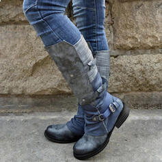 Women's PU Chunky Heel Mid-Calf Boots Riding Boots Round Toe With Buckle Zipper Lace-up shoes