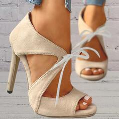 De mujer Ante Tacón stilettos Sandalias Salón Encaje Tacones con Cordones Agujereado Color sólido zapatos