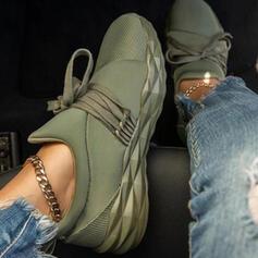 Mulheres Pano Malha Sem salto Sem salto Toe rodada Tênnis com Aplicação de renda Cor da emenda sapatos