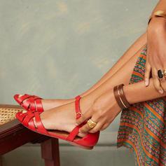 PU Flat Heel Sandals Flats Peep Toe With Buckle shoes