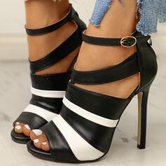 De mujer PU Tacón stilettos Salón Encaje con Hebilla zapatos