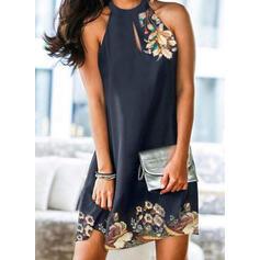 Print/Floral Sleeveless Shift Above Knee Elegant Dresses