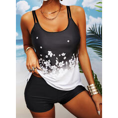 Print Strap U-Neck Sports Plus Size Casual Tankinis Swimsuits