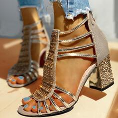 Femmes PU Talon bottier Sandales Escarpins À bout ouvert Talons avec Strass Paillette Zip chaussures