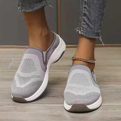 Mulheres Flying Weave Sem salto Low Top Tênnis Escorregar em Loafers & Slip-Ons com Cor da emenda sapatos