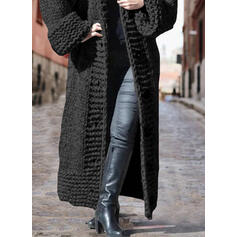 Solid Chunky knit Hooded Casual Long Cardigan