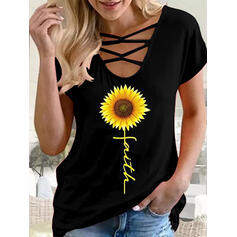 Sunflower Print Letter U-Neck Short Sleeves T-shirts