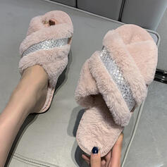 Femmes Faux-Fur Talon plat À bout ouvert Chaussons avec Fourrure chaussures