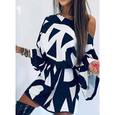 Print Long Sleeves Dropped Shoulder Sheath Above Knee Casual Dresses