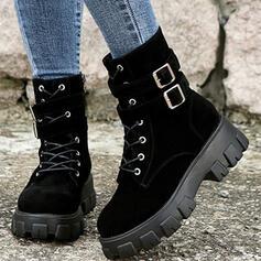 De mujer Ante Tacón ancho Botas Botas longitud media Martin botas Encaje con Hebilla Cordones Color sólido zapatos