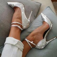 Mulheres Espumante Glitter Salto agulha Bombas Fechados Saltos Dedo pontudo com Espumante Glitter sapatos