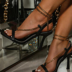 Women's PU Stiletto Heel Sandals Pumps Peep Toe Square Toe With Chain Hollow-out Solid Color shoes