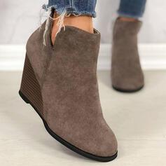 De mujer PU Tipo de tacón Cuñas Encaje Botines chelsea con Color sólido zapatos