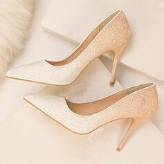 Mulheres PU Salto agulha Bombas Dedo pontudo com Espumante Glitter sapatos