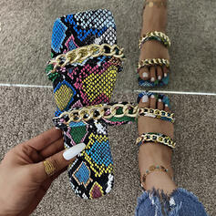 Women's PU Flat Heel Sandals Flats Peep Toe Slippers With Chain Hollow-out Splice Color shoes