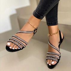 Mulheres Couro Espumante Glitter Sem salto Sandálias Sem salto Peep toe Sapatos abertos com Strass Fivela Oca-out sapatos