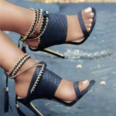De mujer PU Tacón stilettos Sandalias Salón Encaje Tacones con Cadena Agujereado Borla Color sólido zapatos
