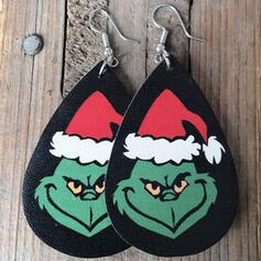Drop Shape Christmas Grinch PU Women's Earrings 2 PCS
