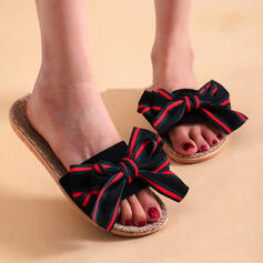 Women's Cloth Flat Heel Sandals Flats Peep Toe Slippers With Bowknot Splice Color shoes