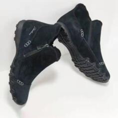 Femmes Suède Talon plat Chaussures plates avec Zip chaussures