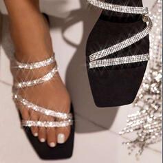Women's Sparkling Glitter Flat Heel Sandals Peep Toe Slippers With Rhinestone Sparkling Glitter shoes