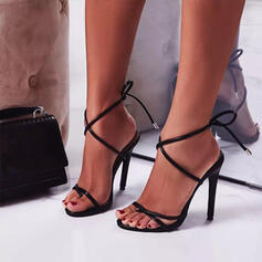Women's PU Stiletto Heel Pumps Peep Toe Heels With Lace-up Hollow-out shoes