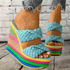 Women's Microfiber Wedge Heel Sandals Platform Wedges Peep Toe Slippers With Braided Strap Splice Color shoes