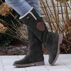Mulheres PU Sem salto Botas na panturrilha Botas de neve Toe rodada Botas de inverno com Zíper Franja sapatos
