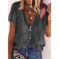Solid Denim V-Neck Short Sleeves Casual Blouses