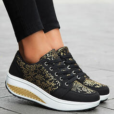 Women's Cloth Mesh Flat Heel Platform Flats Low Top Sneakers With Lace-up Flower shoes