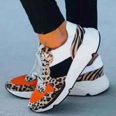 Mulheres PU Outros Sem salto Toe rodada Tênnis com Animal da Cópia Aplicação de renda Impressão sapatos