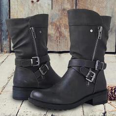 Femmes PU Talon bottier Bottes mi-mollets bout rond avec Boucle Zip Couleur unie chaussures
