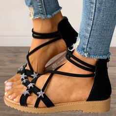 Mulheres PU Sem salto Sandálias Sem salto Peep toe com Zíper Oca-out sapatos