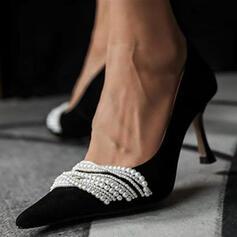 De mujer PU Tacón chupete Salón Cerrados Dedo del pie puntiagudo con Perlas de imitación zapatos