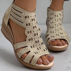 Femmes PU Talon compensé Sandales Compensée À bout ouvert Talons avec Strass Zip Ouvertes chaussures