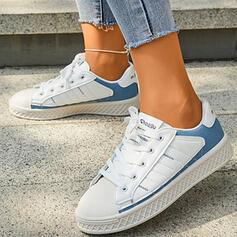 Femmes Microfibre Talon plat Chaussures plates Low Top bout rond Tennis avec Dentelle Inmprimé chaussures