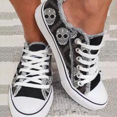 Femmes Toile Talon plat Chaussures plates bout rond Espadrille avec Dentelle chaussures