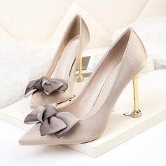 Women's PU Kitten Heel Pumps Heels With Bowknot Solid Color shoes