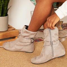 Mulheres PU Sem salto Botas na panturrilha Toe rodada com Fivela Zíper Cor sólida sapatos