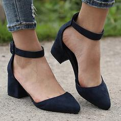 Women's PU Chunky Heel Pumps Pointed Toe With Solid Color shoes