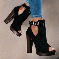 De mujer Ante Tacón ancho Salón Plataforma Botas Encaje Tacones con Hebilla Agujereado Color sólido zapatos