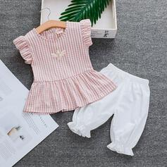 2-pieces Baby Girl Ruffle Plaid Cotton Set